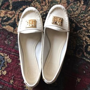 Tory Burch White Leather Driver Loafers